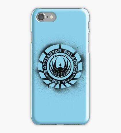 Battlestar Galactica Grunge - Blue line iPhone Case/Skin