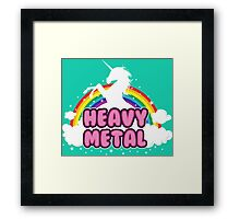 heavy metal parody funny unicorn rainbow Framed Print