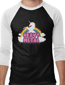 heavy metal parody funny unicorn rainbow Men's Baseball ¾ T-Shirt