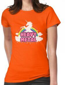 heavy metal parody funny unicorn rainbow Womens Fitted T-Shirt