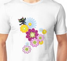 Black Cat in Bright Floral Unisex T-Shirt