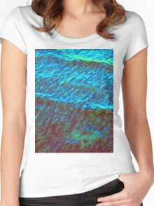 Waves Green-Blue DPG160608d Women's Fitted Scoop T-Shirt