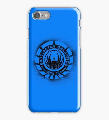Battlestar Galactica Grunge - Dark Blue Line iPhone Case/Skin