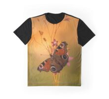 Peacock butterfly on bell flowers at sunset Graphic T-Shirt