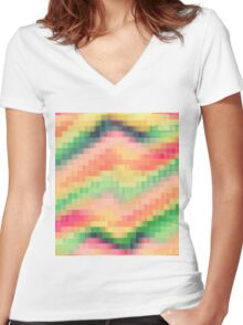 pixel 03 Women's Fitted V-Neck T-Shirt
