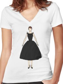 Audrey Black Dress Doll Women's Fitted V-Neck T-Shirt