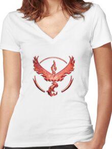 Team Valor Metallic Emblem Women's Fitted V-Neck T-Shirt