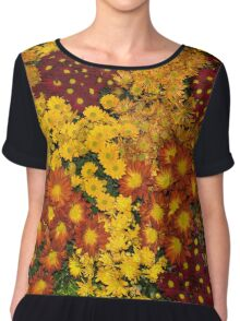 Bunches of Yellow, Copper, Orange, Red, Maroon - Fabulous Autumn Abundance Chiffon Top