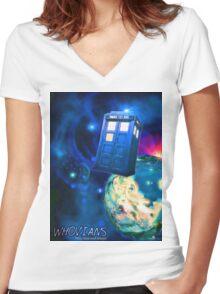 Whovians Best Facebook Group Art Dedication (07/2016) Women's Fitted V-Neck T-Shirt