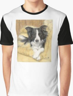 Border Collie Dog Couch Pet Animal Art Cathy Peek Graphic T-Shirt