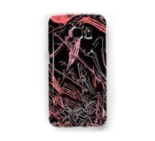 Red, pink on black fabric pattern Samsung Galaxy Case/Skin