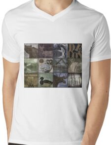 Great Outdoors Wildlife Patchwork Mens V-Neck T-Shirt