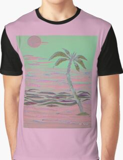 ISLAND PALM COLLAGE IN PINK Graphic T-Shirt