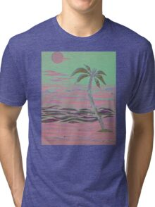ISLAND PALM COLLAGE IN PINK Tri-blend T-Shirt