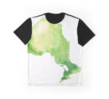 Watercolor Map of Ontario, Canada in Green - Giclee Print of My Own Watercolor Painting Graphic T-Shirt
