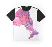Watercolor Map of Ontario, Canada in Pink and Purple - Giclee Print of My Own Watercolor Painting Graphic T-Shirt