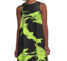 Lemon paint on black A-Line Dress