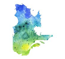 Watercolor Map of Quebec, Canada in Blue and Green - Giclee Print of My Own Watercolor Painting Photographic Print