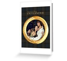 Jamie & Claire/Gold frame on plaid. Greeting Card