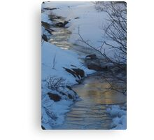 Evening Sky Reflected In Ice Canvas Print