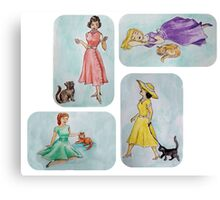 Retro Cat Ladies Canvas Print