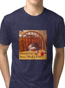 Gamer Cat Roll A D20 Tri-blend T-Shirt