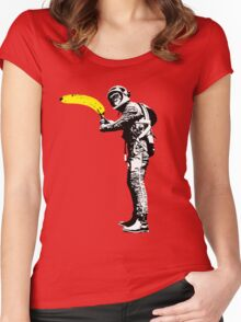 Monkey astronaut with banana Women's Fitted Scoop T-Shirt