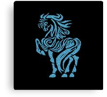 Tribal Horse - Blue Glitter Canvas Print