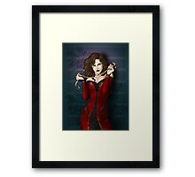 Gothic Girl With Red Ribbon Framed Print