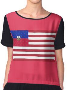 Haitian American Flag Chiffon Top