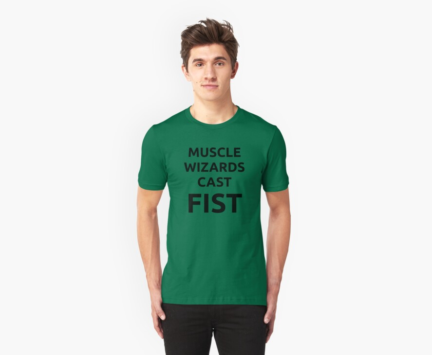 Muscle wizards cast FIST - black text by jandii