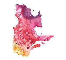 Watercolor Map of Quebec, Canada in Orange, Red and Purple - Giclee Print  Photographic Print