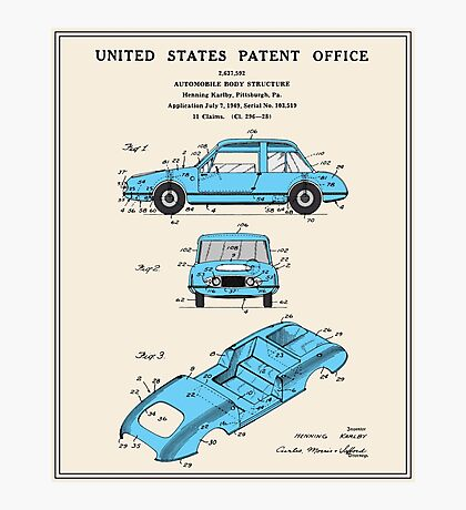 Automobile Body Patent Photographic Print