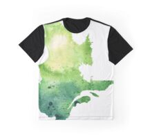 Watercolor Map of Quebec, Canada in Green - Giclee Print of My Own Watercolor Painting Graphic T-Shirt