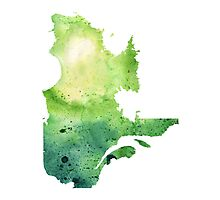 Watercolor Map of Quebec, Canada in Green - Giclee Print of My Own Watercolor Painting Photographic Print