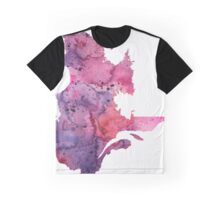 Watercolor Map of Quebec, Canada in Pink and Purple - Giclee Print of My Own Watercolor Painting Graphic T-Shirt