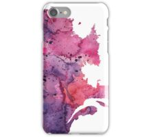 Watercolor Map of Quebec, Canada in Pink and Purple - Giclee Print of My Own Watercolor Painting iPhone Case/Skin