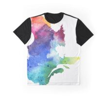 Watercolor Map of Quebec, Canada in Rainbow Colors - Giclee Print of My Own Watercolor Painting Graphic T-Shirt