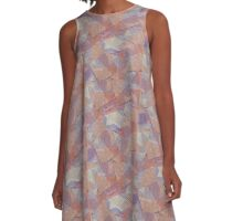 "Star on purple, blue, pink, tan with ""Patriot"" A-Line Dress"