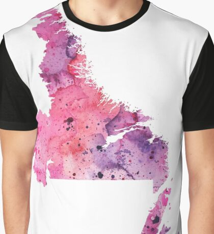 Watercolor Map of Newfoundland and Labrador, Canada in Pink and Purple  Graphic T-Shirt