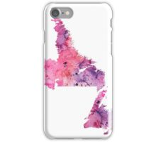 Watercolor Map of Newfoundland and Labrador, Canada in Pink and Purple - Giclee Print  iPhone Case/Skin