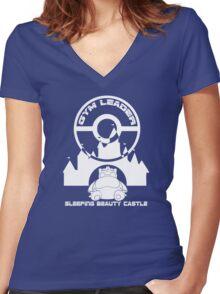 Poke-GO: Sleeping Beauty's Castle Gym Leader Women's Fitted V-Neck T-Shirt