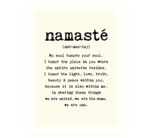Namaste. Art Print