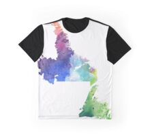 Hand Painted Watercolor Map of Newfoundland and Labrador, Canada in Rainbow Colors - Giclee Print Graphic T-Shirt