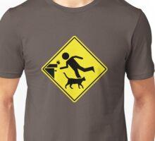 Cat Tripping Human Caution Sign Unisex T-Shirt