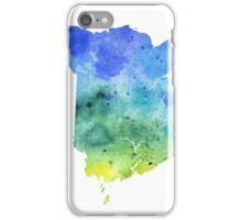 Watercolor Map of New Brunswick, Canada in Blue and Green - Giclee Print  iPhone Case/Skin