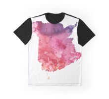 Watercolor Map of New Brunswick, Canada in Orange, Red and Purple - Giclee Print Graphic T-Shirt