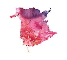 Watercolor Map of New Brunswick, Canada in Orange, Red and Purple - Giclee Print Photographic Print