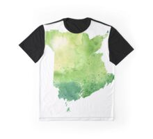 Watercolor Map of New Brunswick, Canada in Green - Giclee Print of My Own Watercolor Painting Graphic T-Shirt