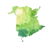 Watercolor Map of New Brunswick, Canada in Green - Giclee Print of My Own Watercolor Painting Photographic Print